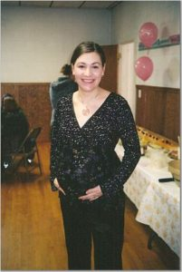 Marijke at her baby shower, pregnant with the girls